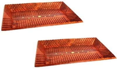 Onlineshoppee Pack Of 2 Solid Wood Tray