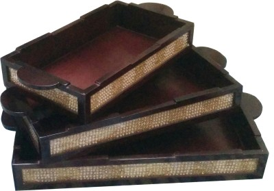 SLK Hand Embroidered Embossed Wood Tray Set(Brown, Pack of 3)