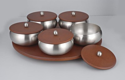 Meera Exclusive Fabia Revolving Tray with 5 Savvy Bowls Solid Wood Tray