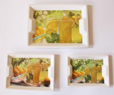 Rekha Lemonade Glass Printed Melamine Tray Set