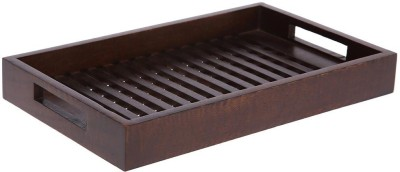 HomeStop Small Patterned Tray Mango Wood Hammered Wood Tray