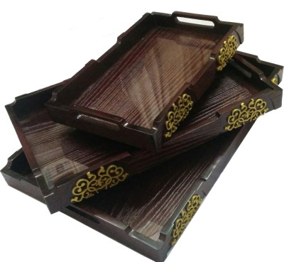 SLK Wooden Solid Wood Tray(Brown, Pack of 3)