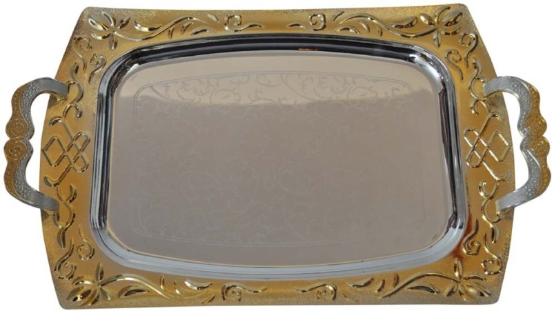 Sambhav Products Golden Hammer Serving Tray Hammered Silver Plated Tray Set(Multicolor, Silver, Gold, Pack of 2)