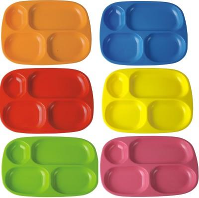 Suraj 4 Partition (6pcs) Solid Melamine Plate Set(Multicolor, Pack of 6)