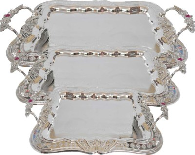 Sambhav Products 1-13 Debossed Silver Plated Tray Set