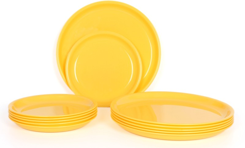Gluman Microwave Safe Round Solid Plastic Plate Set(Yellow, Pack of 12)