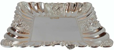 Sambhav Products 6-7 Embossed Silver Plated Tray