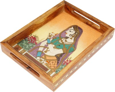 R S Jewels Handicraft Gemstone Serving Solid Wood Tray