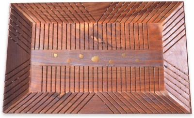 Craftsman Rajputana Rectangular Engraved Wood Tray