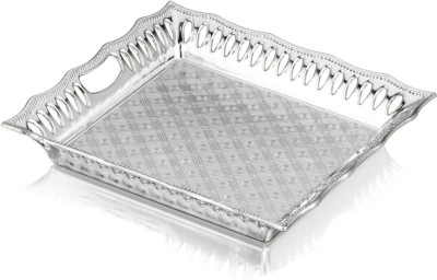 Sukhson India Parker 2 Silver Engraved Silver Plated Tray(Silver, Pack of 1)