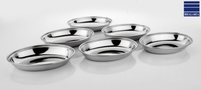Bhalaria Deep Oval Portion 9 Solid Stainless Steel Dish Set(Silver, Pack of 6) at flipkart
