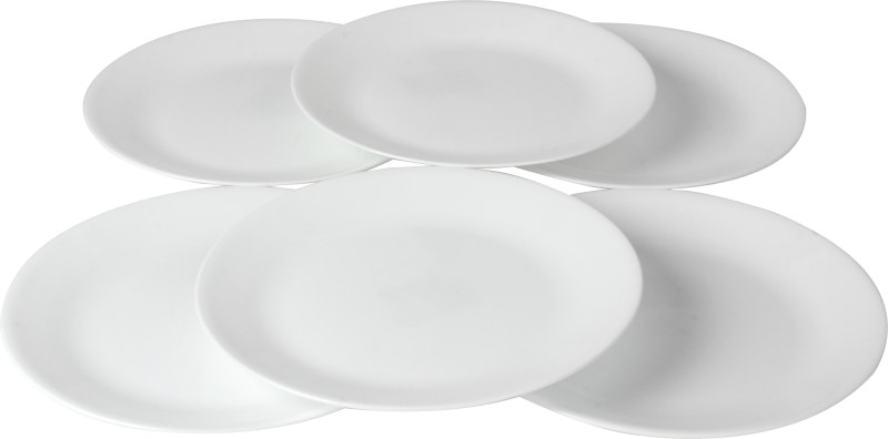 Corelle Winter Frost White Printed Glass Plate Set(White, Pack of 6)