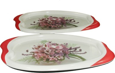 White Gold Floral Printed Melamine Tray Set