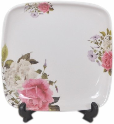 Lumineck Flora Printed Melamine Plate Set(White, Pack of 6)