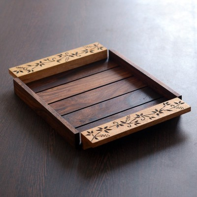 Unravel India Wooden Brown Burnt Solid Wood Tray