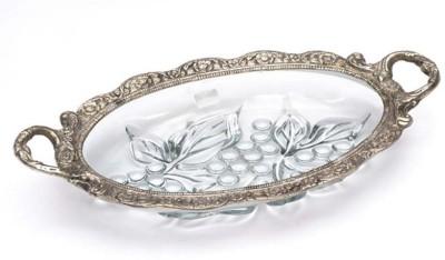 Naysha White Metal Glass Grapes Design Solid Aluminium Tray