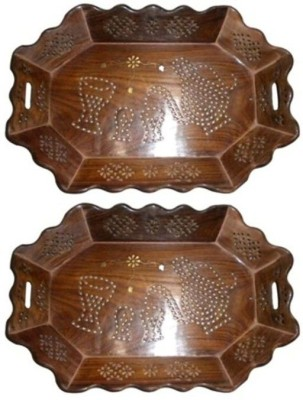 Onlineshoppee Fancy Basket ,Pack Of 2 Solid Wood Tray
