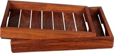 Craftbell Handcrafted Sheesham Engraved Wood Tray Set