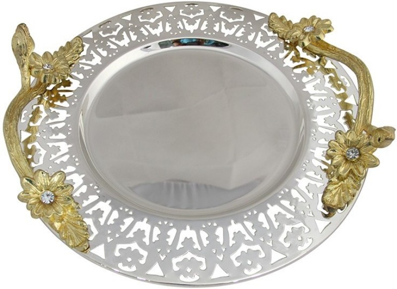 Aurazstore Round Jaali Large Solid Aluminium Tray(Silver, Pack of 1)