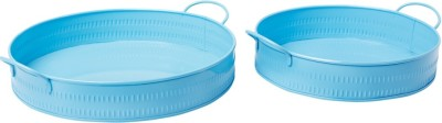 Lamphoni Metal Sky Blue Decorative Solid Stainless Steel Tray Set