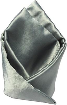 Vibhavari Silver Solid Microfibre Pocket Square