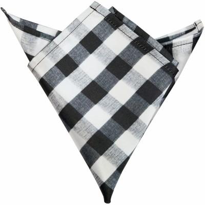 Blacksmithh Black And White Husk Checks Printed Design Checkered Satin Pocket Square