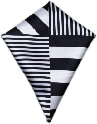 Blacksmithh European Black Geometric Print Satin Pocket Square