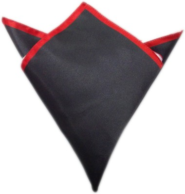 Blacksmithh Carbon Tipped Red Solid Satin Pocket Square