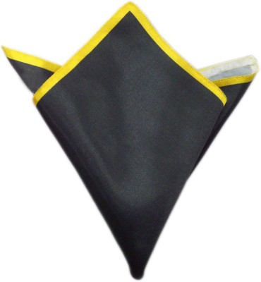 Blacksmithh Carbon Tipped Yellow Solid Satin Pocket Square