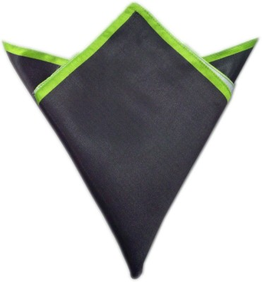 Blacksmithh Carbon Tipped Green Solid Satin Pocket Square