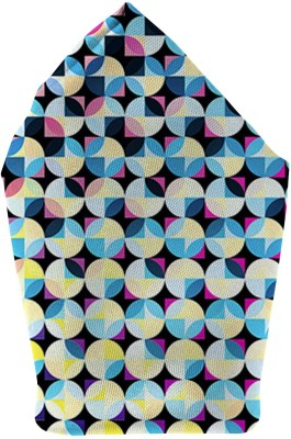 The Fappy Store Circle Love Blue Printed Microfibre Pocket Square