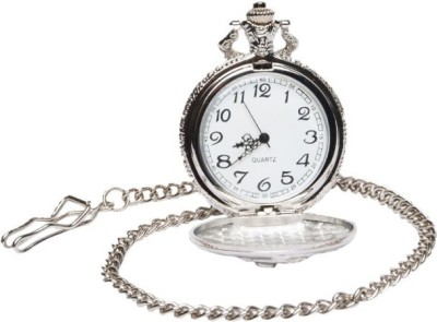 Pourni Antique Design Usable Analog Pocket Watch(Silver)