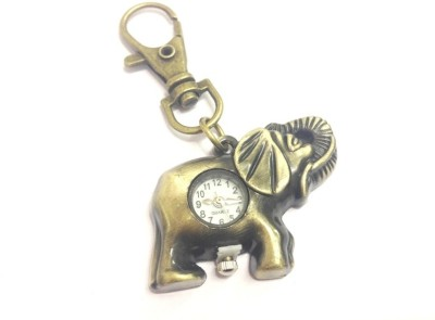 Kairos Designer Elephant Keychain Analog Pocket Watch(Gold)