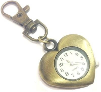 Kairos Designer Antique Heart Keychain Analog Pocket Watch(Gold)