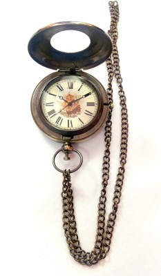 Artshai Push Button Design With Leather Case 2150 Anique Look Brass Pocket Watch Chain( )