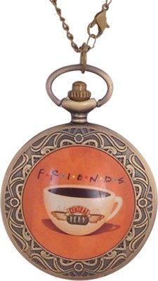 24x7 eMall CENTRAL PERK FRIENDS PENDANT 45 mm with Chain 80 cms F.R.I.E.N.D.S. Antique finish Bronze Pocket Watch Chain( )