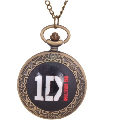 24x7 eMall ONE DIRECTION LOGO PREMIUM PENDANT 4.5 cms0 1D with Chain 80 cms Antique Finish Bronze Pocket Watch Chain( )