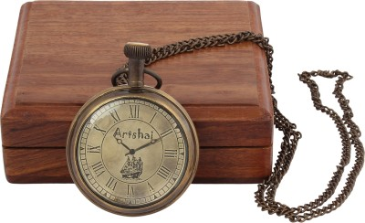 Artshai Ship Design With Wooden Box 2145 Anique Look Brass Pocket Watch Chain