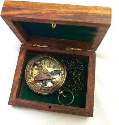 Artshai Sundial Design With Sheesham Box 2075 Anique Look Brass Pocket Watch Chain