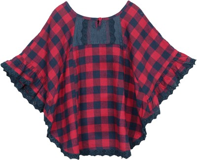 My Lil,Berry Cotton Flannel Poncho