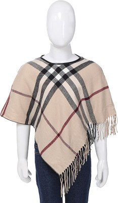 Mauve Cotton Wool Blended Poncho