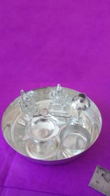 Gruvi Enterprises Laxmi & Ganesh Murti With Silver Pooja & Thali Set(6 Pieces, Silver)