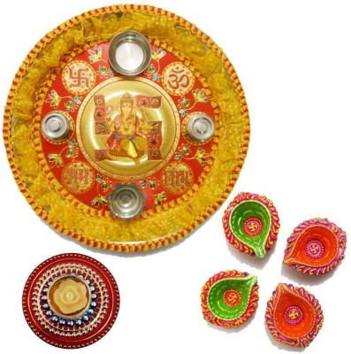 Tradition India Diwali Gift Diya TI088 Stainless Steel Pooja & Thali Set