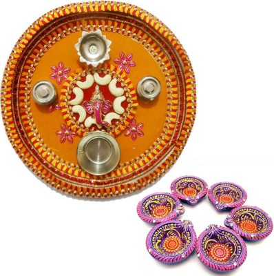 Tradition India Diwali Gift Diya TI118 Stainless Steel Pooja & Thali Set