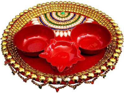 Indian Traditional Stores Aarti Thali Steel Pooja & Thali Set