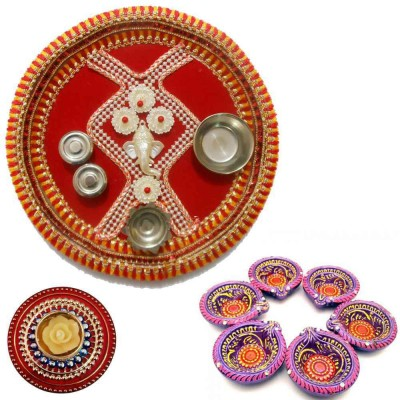 Tradition India Diwali Gift Diya TI127 Stainless Steel Pooja & Thali Set