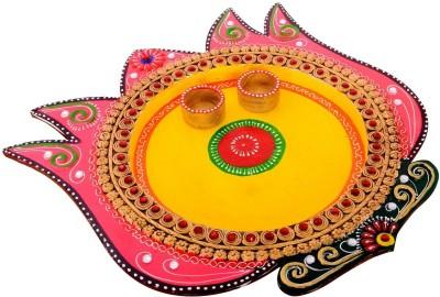 eCraftIndia Papier-Mache Lotus Design Multiutility Wooden Pooja & Thali Set
