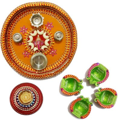 Tradition India Diwali Gift Diya TI077 Stainless Steel Pooja & Thali Set