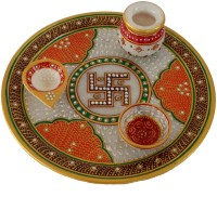 DivineCrafts Makrana Marble Kundan Studded Multiutility Marble Pooja & Thali Set(1 Pieces, Multicolor)