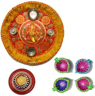 Tradition India Diwali Gift Diya TI117 Stainless Steel Pooja & Thali Set